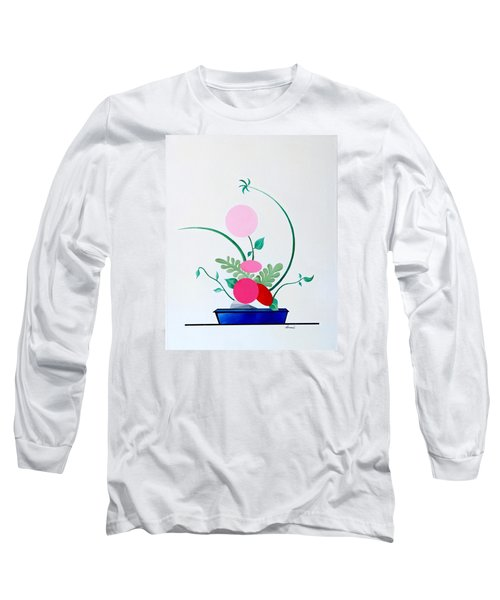 Long Sleeve T-Shirt featuring the painting Ikebana #3 Blue Pot by Thomas Gronowski