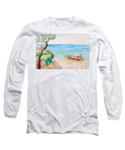 Long Sleeve T-Shirt featuring the painting Il Pescatore Solitario by Loredana Messina
