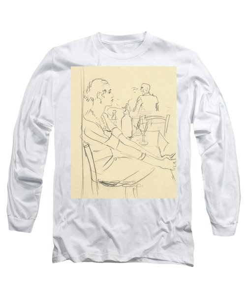 Illustration Of A Woman Sitting Down Long Sleeve T-Shirt