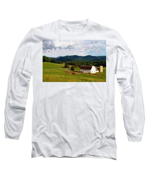 Long Sleeve T-Shirt featuring the painting Impressionist Farming by John Haldane