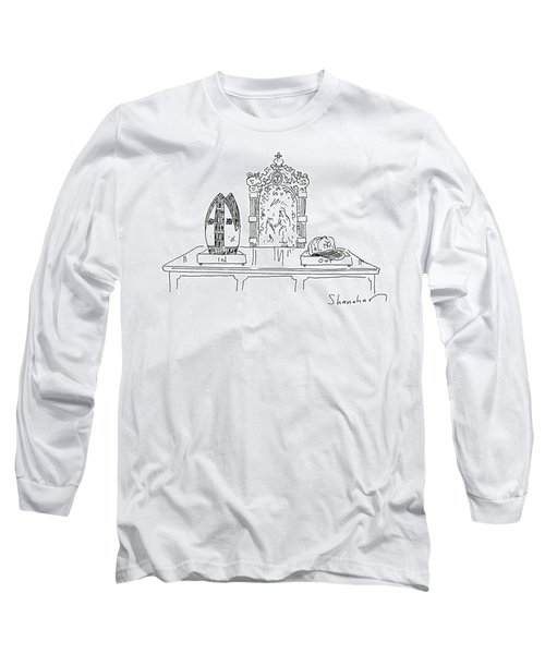 In And Out Boxes With Pope's Mitre And Yankees Cap Long Sleeve T-Shirt