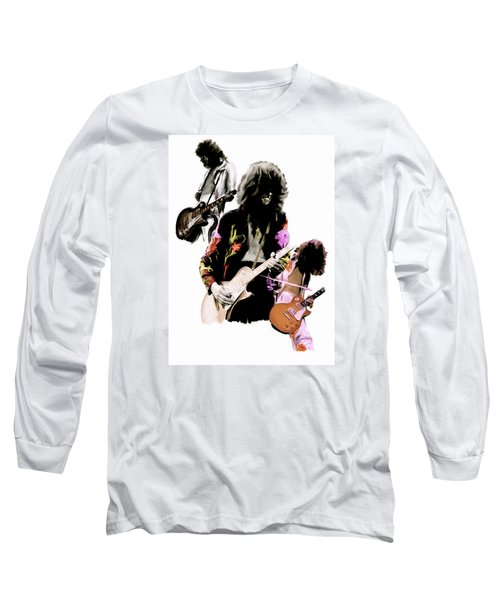 In Flight Iv Jimmy Page  Long Sleeve T-Shirt by Iconic Images Art Gallery David Pucciarelli