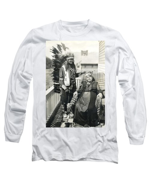 Long Sleeve T-Shirt featuring the photograph Indian Chief And Woman by Charles Beeler