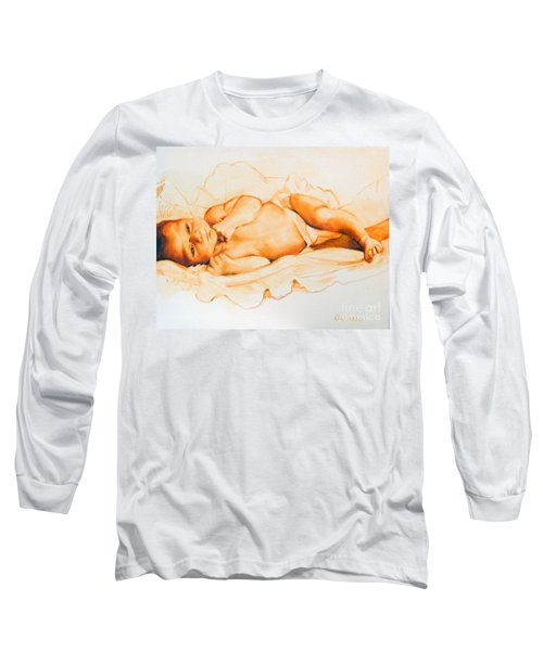 Long Sleeve T-Shirt featuring the painting Infant Awake by Greta Corens
