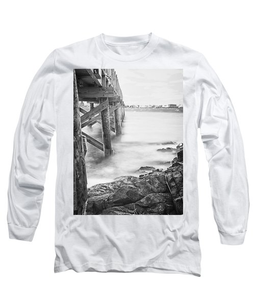 Long Sleeve T-Shirt featuring the photograph Infrared View Of Stormy Waves At Stramsky Wharf by Jeff Folger