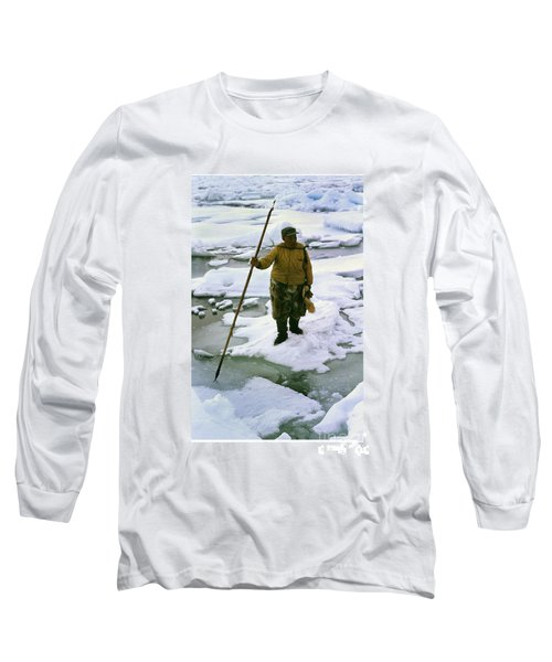 Long Sleeve T-Shirt featuring the photograph Inuit Seal Hunter Barrow Alaska July 1969 by California Views Mr Pat Hathaway Archives