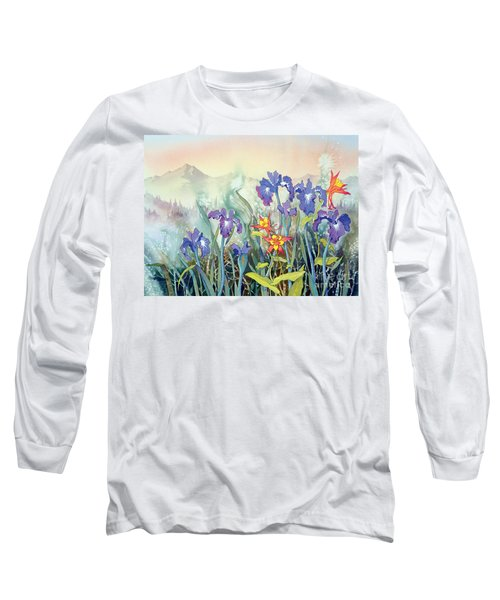 Long Sleeve T-Shirt featuring the painting Iris And Columbine II by Teresa Ascone