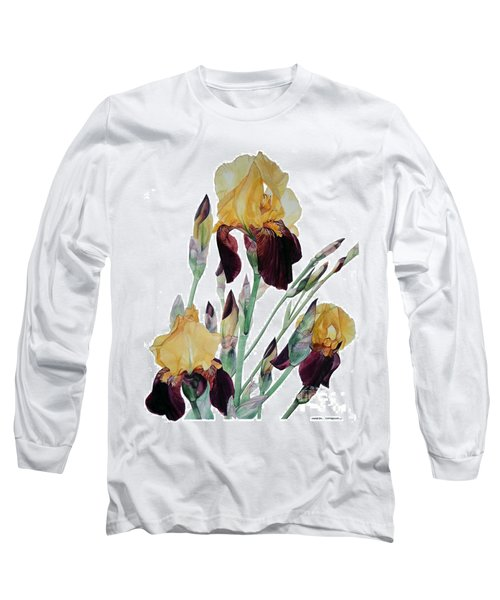Watercolor Of Tall Bearded Iris In Yellow And Maroon I Call Iris Beethoven Long Sleeve T-Shirt