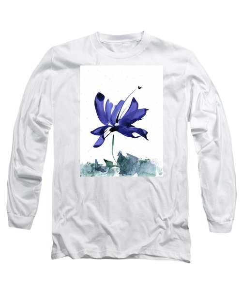 Long Sleeve T-Shirt featuring the painting Iris In The Greenery Watercolor by Frank Bright