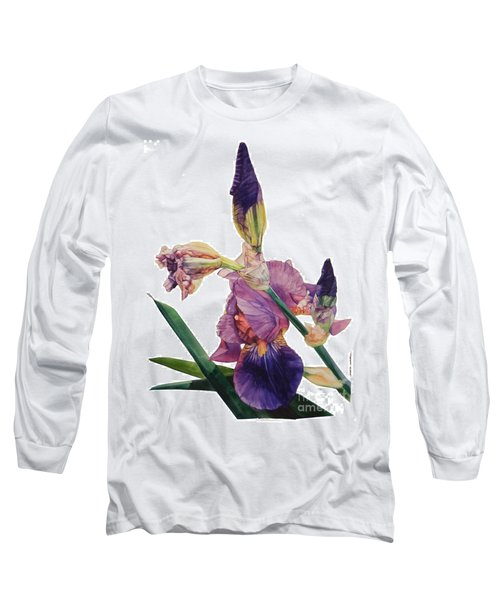 Watercolor Of A Tall Bearded Iris In A Color Rhapsody Long Sleeve T-Shirt