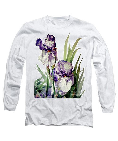 Watercolor Of A Tall Bearded Iris In Violet And White I Call Iris Selena Marie Long Sleeve T-Shirt