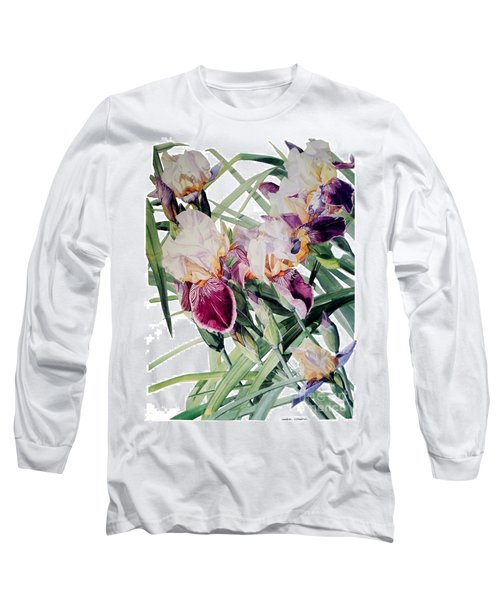 Watercolor Of Tall Bearded Irises I Call Iris Vivaldi Spring Long Sleeve T-Shirt