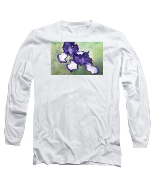 Irises Duet In Purple Flowers Colorful Original Painting Garden Iris Flowers Floral K. Joann Russell Long Sleeve T-Shirt