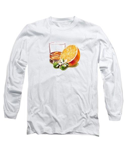 Long Sleeve T-Shirt featuring the painting Irish Whiskey And Orange by Irina Sztukowski