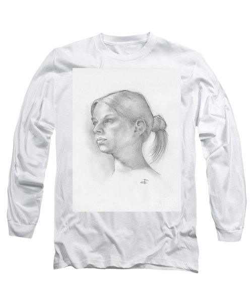 Long Sleeve T-Shirt featuring the drawing Issabell by Paul Davenport