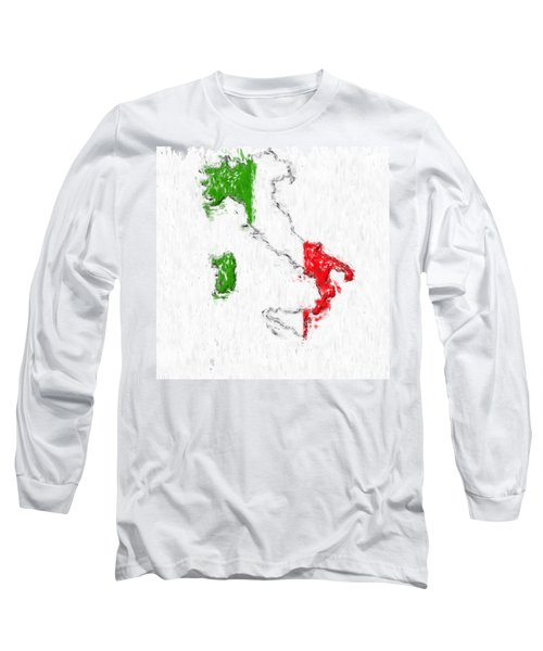 Italy Painted Flag Map Long Sleeve T-Shirt by Antony McAulay