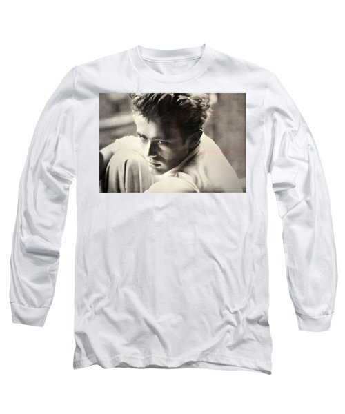 James Dean Black And White Long Sleeve T-Shirt by Jay Milo