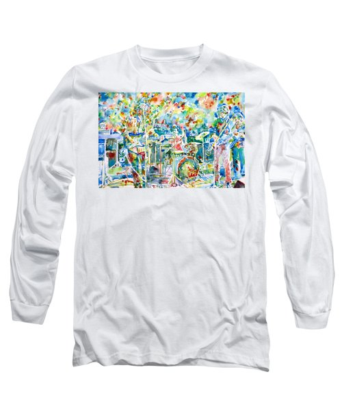 Jerry Garcia And The Grateful Dead Live Concert - Watercolor Portrait Long Sleeve T-Shirt by Fabrizio Cassetta