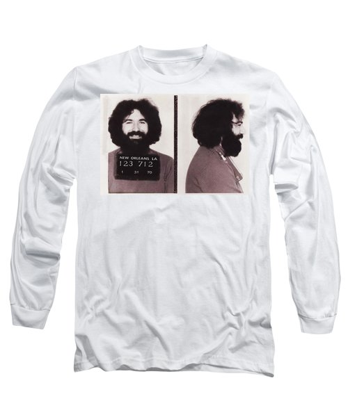 Long Sleeve T-Shirt featuring the photograph Jerry Garcia Mugshot by Digital Reproductions