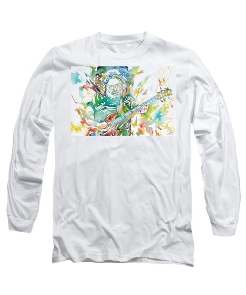 Jerry Garcia Playing The Guitar Watercolor Portrait.1 Long Sleeve T-Shirt