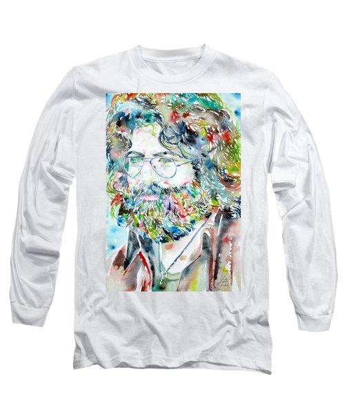 Jerry Garcia Watercolor Portrait.2 Long Sleeve T-Shirt by Fabrizio Cassetta