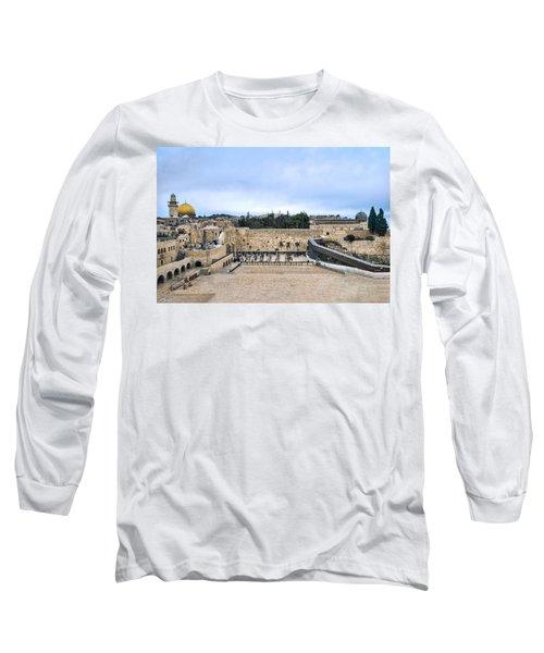 Jerusalem The Western Wall Long Sleeve T-Shirt by Ron Shoshani