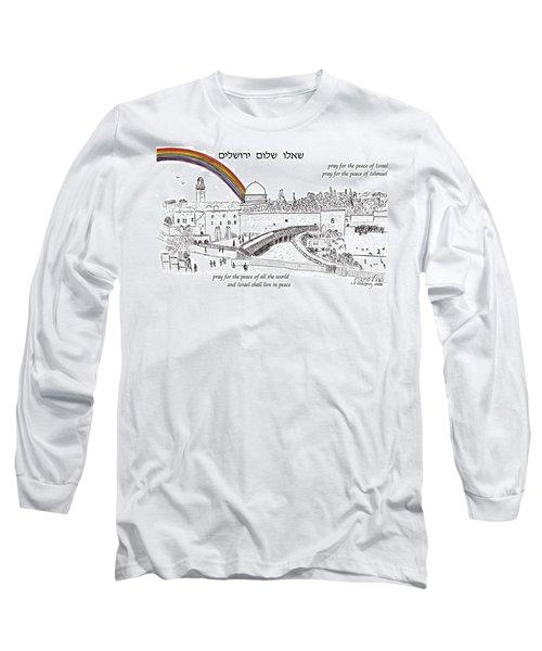 Jerusalem With Rainbow Long Sleeve T-Shirt