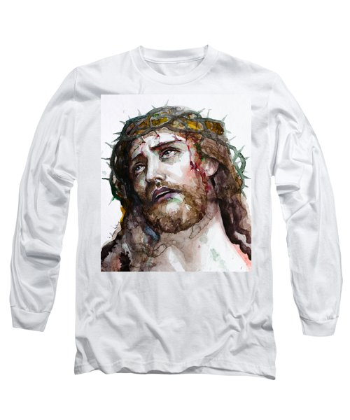 Long Sleeve T-Shirt featuring the painting The Suffering God by Laur Iduc