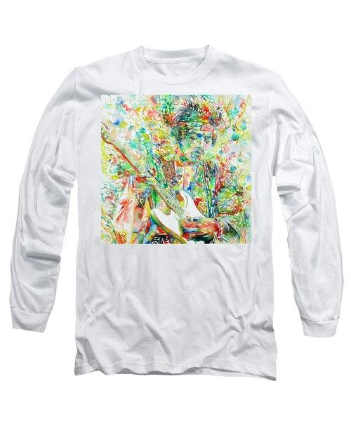 Jimi Hendrix Playing The Guitar Portrait.1 Long Sleeve T-Shirt