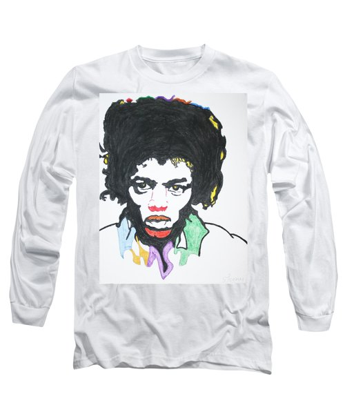 Long Sleeve T-Shirt featuring the painting Jimi Hendrix by Stormm Bradshaw