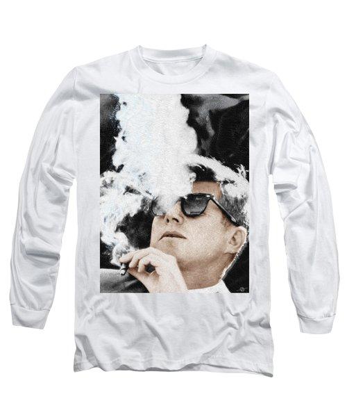 John F Kennedy Cigar And Sunglasses Long Sleeve T-Shirt