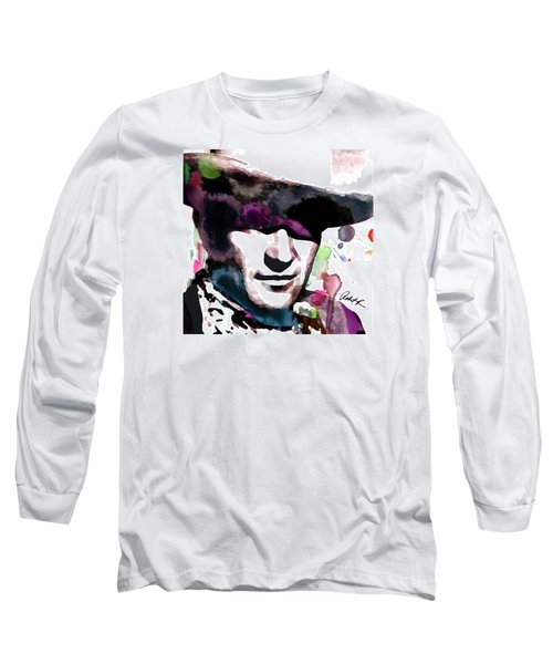 John Wayne Water Color Pop Art By Robert R Long Sleeve T-Shirt