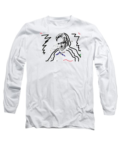 Long Sleeve T-Shirt featuring the photograph Johnny Cash Man In White Literary Homage Old Tucson Arizona 1971-2008 by David Lee Guss