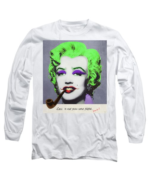 Joker Marilyn With Surreal Pipe Long Sleeve T-Shirt by Filippo B