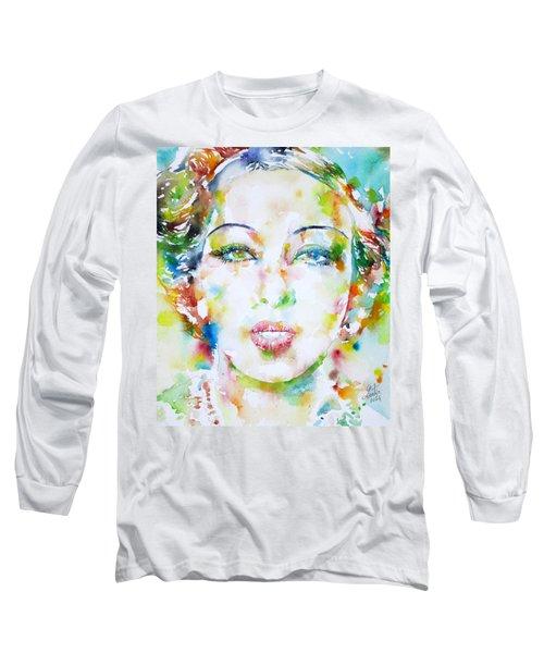 Josephine Baker - Watercolor Portrait Long Sleeve T-Shirt by Fabrizio Cassetta