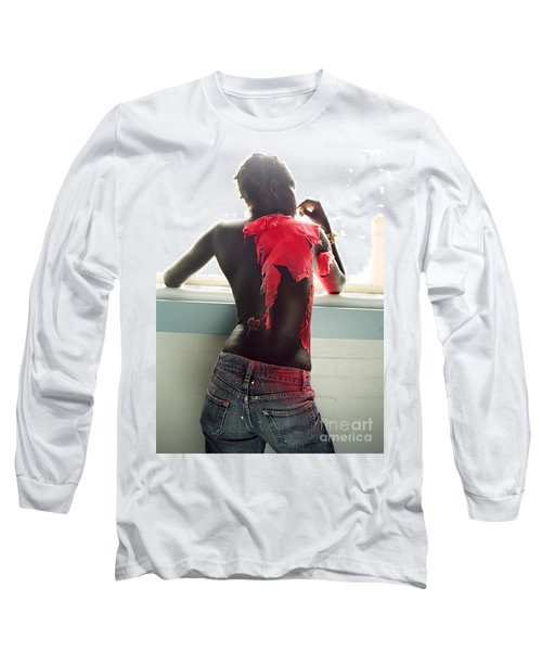 Long Sleeve T-Shirt featuring the photograph Josephine Red by Rebecca Harman