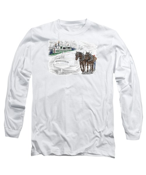 Journeys On The Canal - Canal Boat Print Color Tinted Long Sleeve T-Shirt