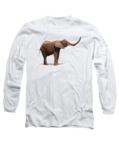 Joyful Elephant Isolated On White Long Sleeve T-Shirt
