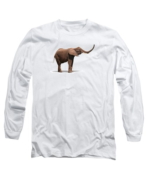Joyful Elephant Isolated On White Long Sleeve T-Shirt