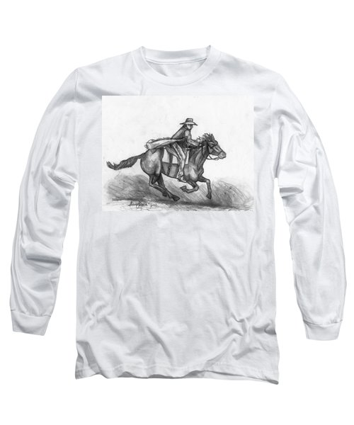 Long Sleeve T-Shirt featuring the drawing Kickin Up Dust by Shana Rowe Jackson