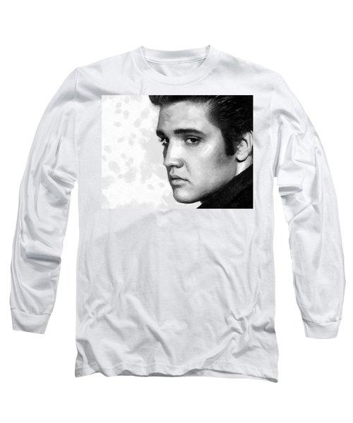 King Of Rock Elvis Presley Black And White Long Sleeve T-Shirt by Georgi Dimitrov