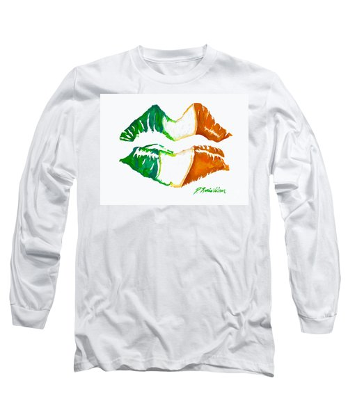 Long Sleeve T-Shirt featuring the painting Kiss Me I'm Irish by D Renee Wilson