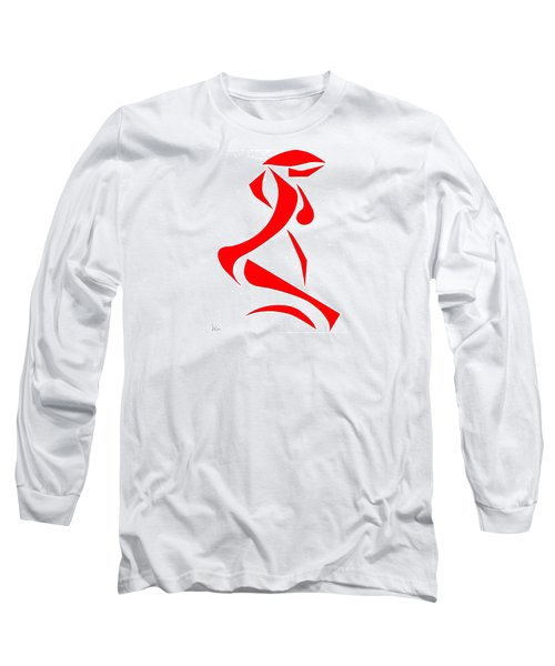 Long Sleeve T-Shirt featuring the digital art Kneeling Nude by Delin Colon