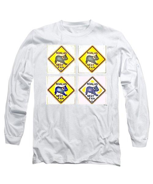 Koalas Road Sign Pop Art Long Sleeve T-Shirt