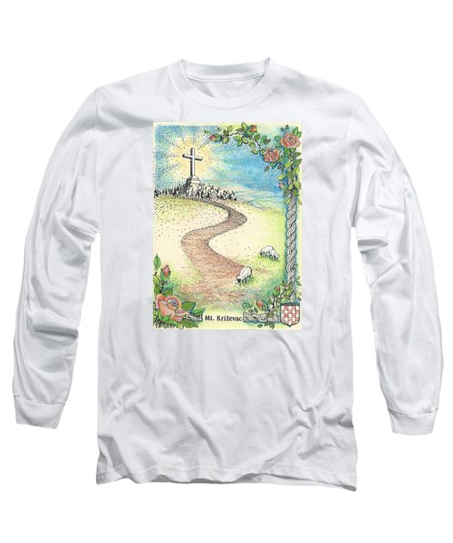 Krizevac - Cross Mountain Long Sleeve T-Shirt by Christina Verdgeline
