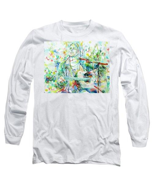 Kurt Cobain Playing The Guitar - Watercolor Portrait Long Sleeve T-Shirt by Fabrizio Cassetta
