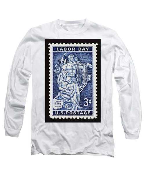 Labor Day Vintage Postage Stamp Print Long Sleeve T-Shirt by Andy Prendy