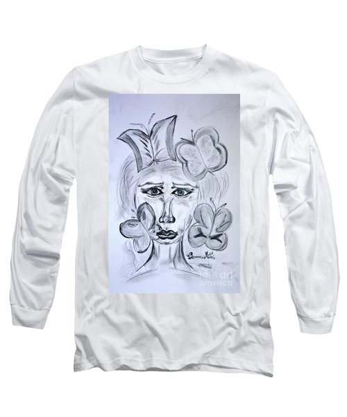 Long Sleeve T-Shirt featuring the drawing Lady Queen Of Butterflies by Ramona Matei