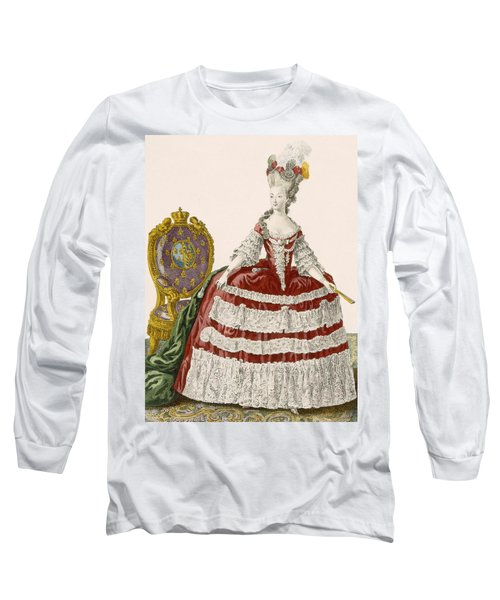 Ladys Court Gown In Dark Cherry Long Sleeve T-Shirt