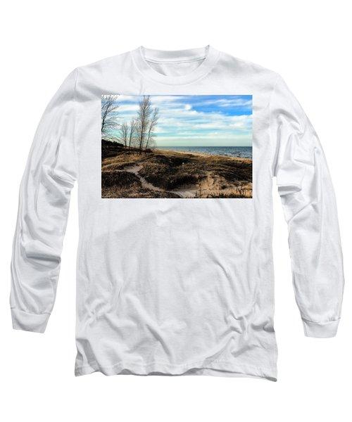 Long Sleeve T-Shirt featuring the photograph Lake Michigan Shoreline by Lauren Radke